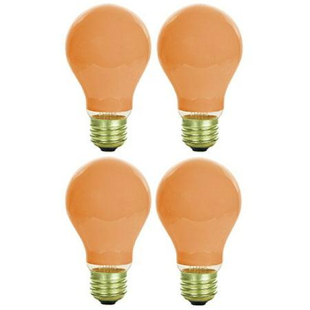 Pack Of 4 40 Watt A19 Ceramic Orange Medium Base Standered Household Incandescent Orange Colored Light Bulb