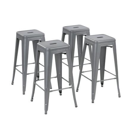 Excellent Howard 30 Inch Metal Bar Stool Set Of 4 Silver Walmart Com Inzonedesignstudio Interior Chair Design Inzonedesignstudiocom