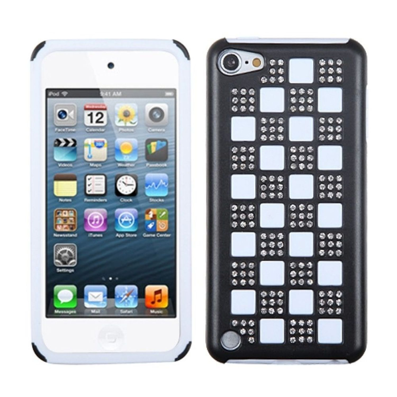 INSTEN Silver Checker/Black/White Diamante Duple Case For iPod Touch 6 6th 5 5th Gen