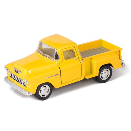Yellow 1955 Chevy Stepside Pick-Up Die Cast Collectible Toy Truck, Made of Quality Die Cast Metal By (Metal Toy Truck)