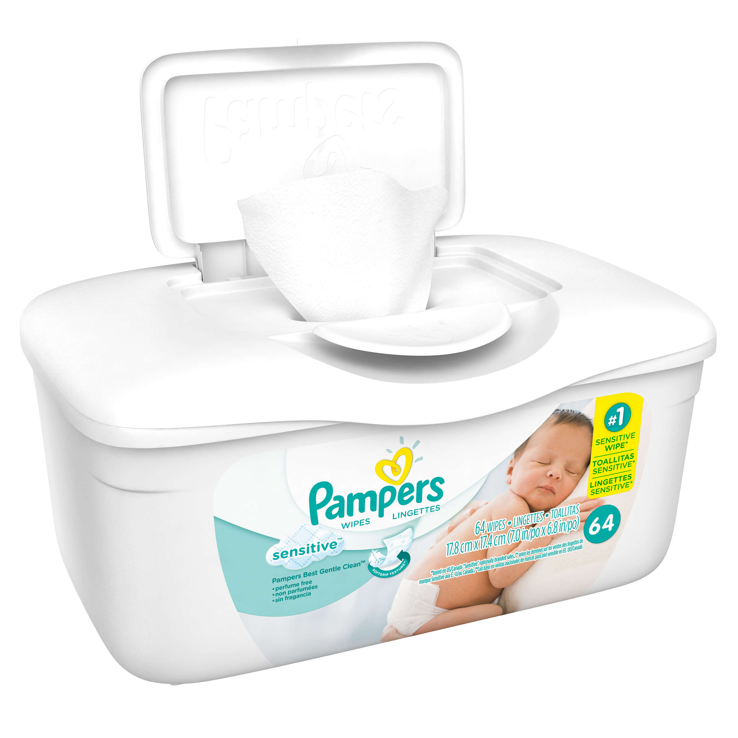 Pampers Sensitive Baby Wipes, Unscented, 1 Pop-Top Tub (64 count)