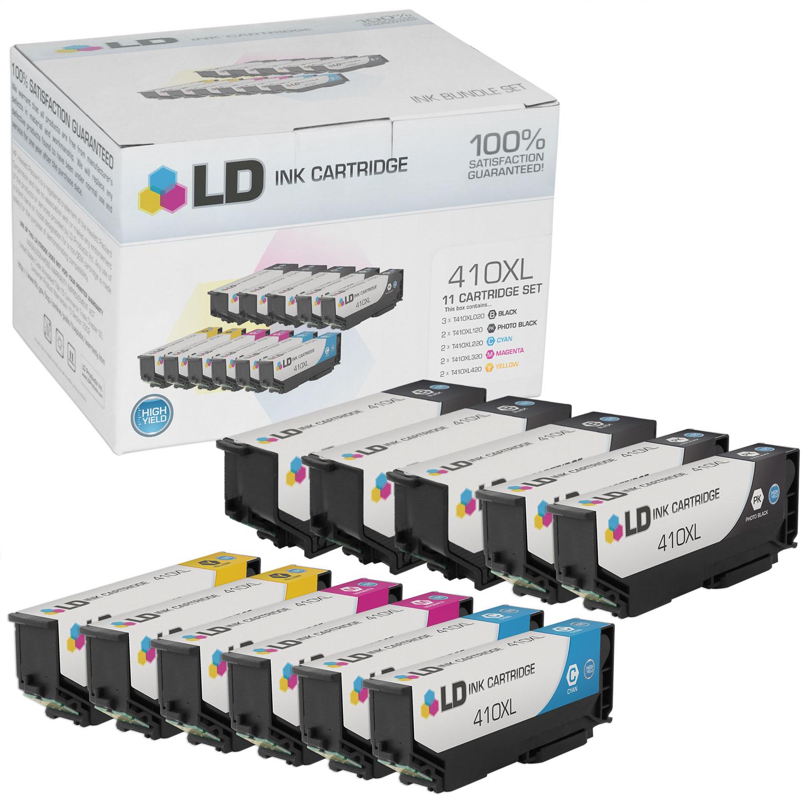 LD Remanufactured Epson 410 / 410XL / T410XL Set of 11 High Yield Ink Cartridges (3 Black, 2 Cyan, 2 Magenta, 2 Yellow & 2 Photo Black) for Expression XP-530, XP-630, XP-635, XP-640 & XP-830