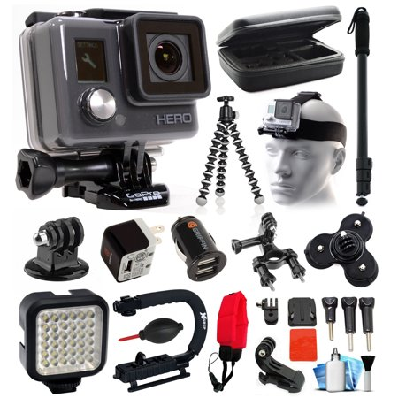 Gopro Hd Hero Waterproof Action Camera Camcorder With Deluxe Sports Bundle Includes Travel Case   Selfie Monopod Stick   Head Helmet Strap   Charger   Led Video Light   Grip Stabilizer  Chdha 301