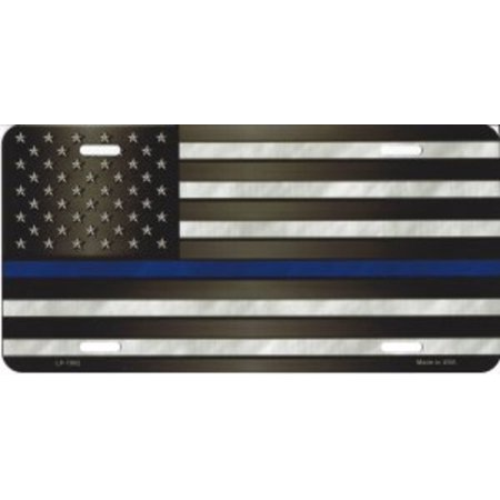 Police Officer Thin Blue Line On U.S. Flag License Plate Blue Airbrushed License Plates