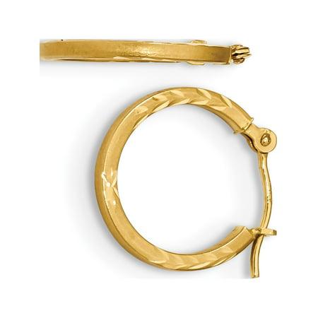 Satin or 14K jaune et Design diamant?es Cut Cr?oles - image 2 de 2