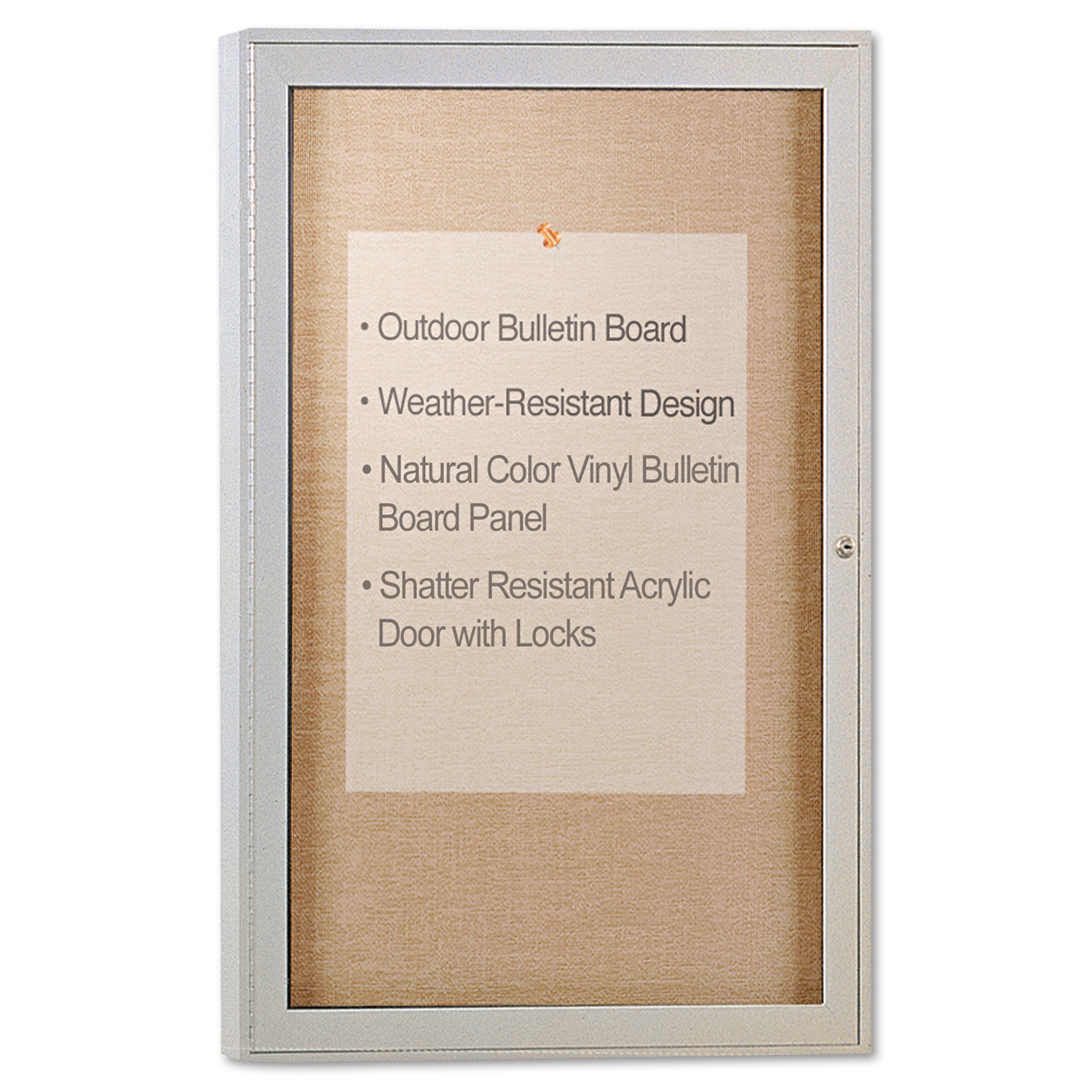 "Ghent Enclosed Outdoor Bulletin Board, 36"" x 24"", Satin-Finished Frame"