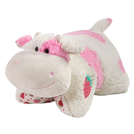 Pillow Pets Sweet Scented Pets - Strawberry Milkshake Cow, Strawberry Milkshake Scented Stuffed Animal Plush Toy - Milkshake Costume