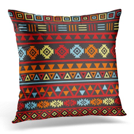 ARTJIA Patterns Aztec Style Large Ptn Orange Yellow Red Designs Pillowcase Cushion Cover 20x20 inches ()