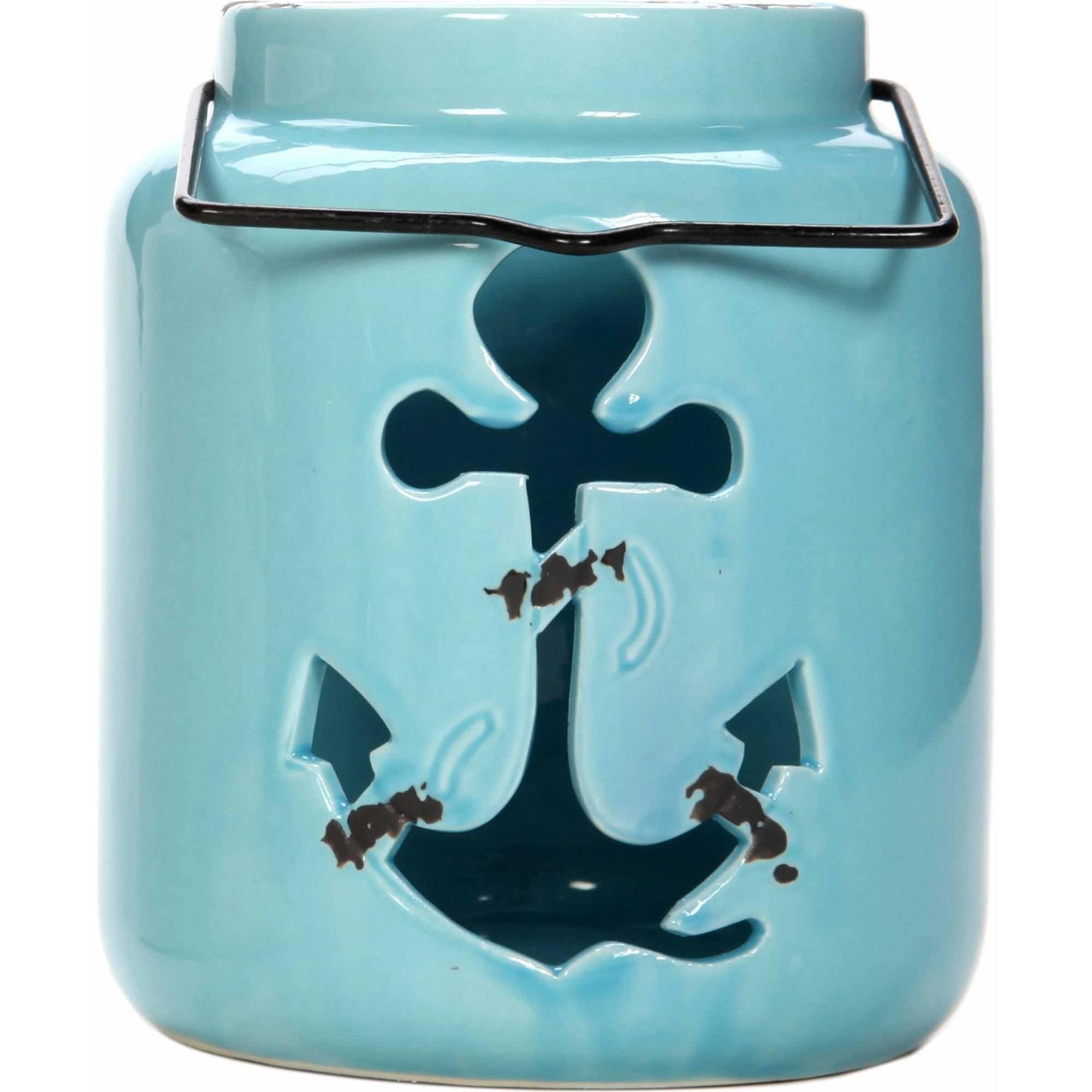 "Mainstays 5.3""H Blue Ceramic Anchor Lantern"