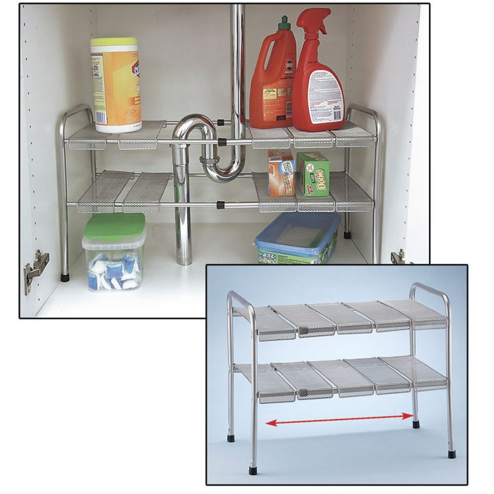 Atb 2 tier expandable adjustable under sink shelf storage shelves kitchen organizer walmart com