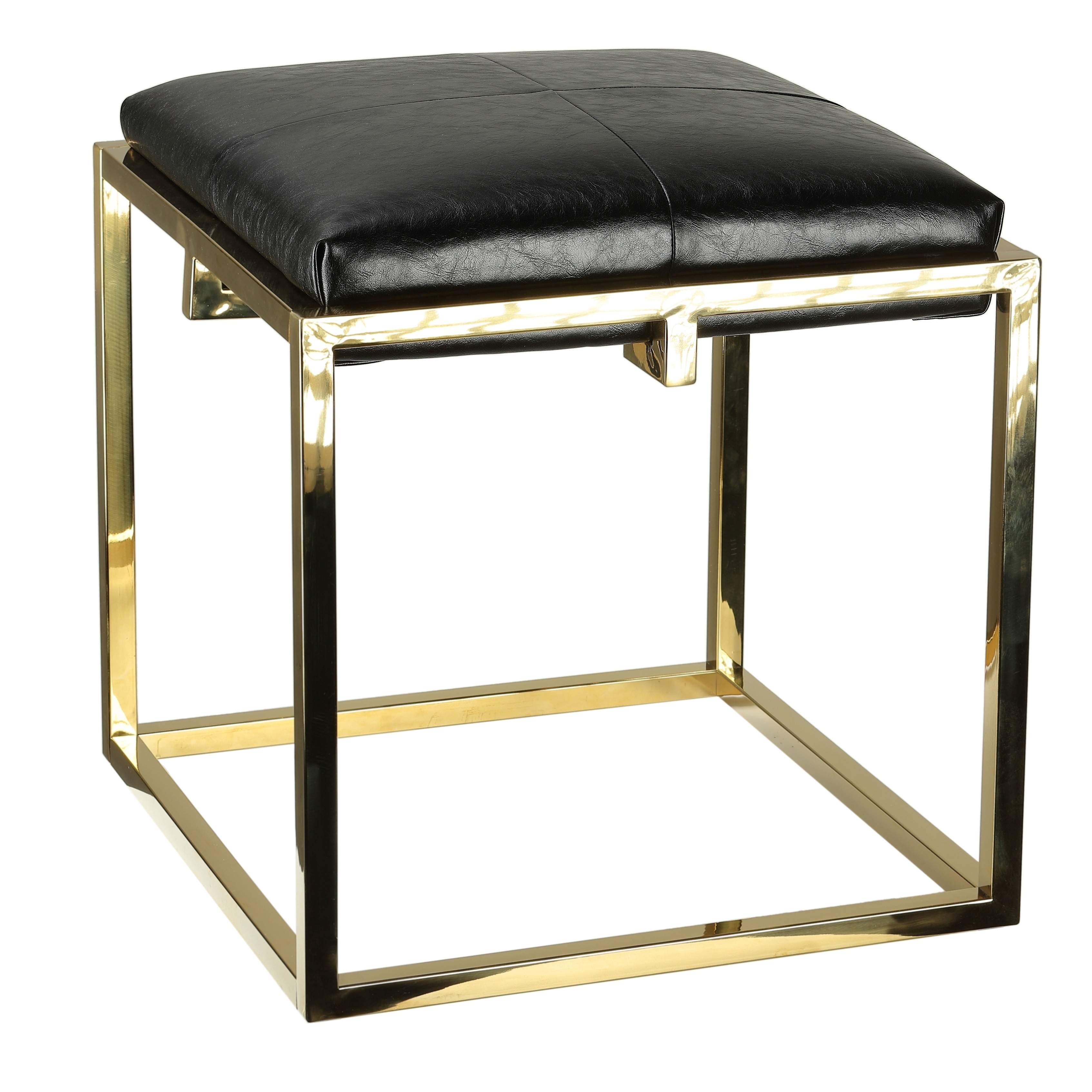 Cortesi Home  Hygge Gold Contemporary Metal Ottoman with a Black Cushion 18x18x18