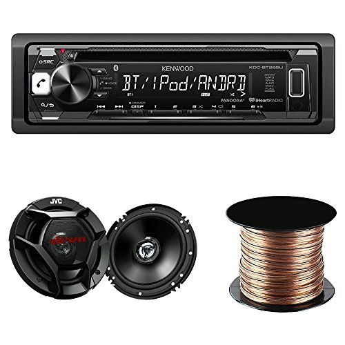 "Kenwood KDC-BT265U Single DIN Bluetooth In-Dash CD/AM/FM Car Stereo + Kenwood KFC-1665S 60W 6.5"" 2-Way Coaxial Speakers Tweeters + SW1850 Digital Audio Speaker Wire, 18 AWG, (50 feet)"