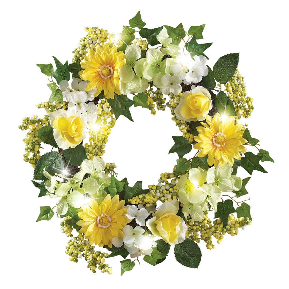 "Spring Floral Mix Pre-Light 17"" Door Wreath, Green"