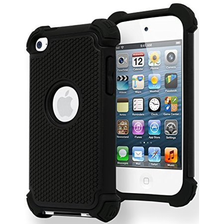 iPod Touch 4 Case, Bastex Hybrid Slim Fit Black Rubber Silicone Cover Hard Plastic Black Shock Case for Apple iPod Touch 4, 4th Generation (Ipod 4 Stitch Case)