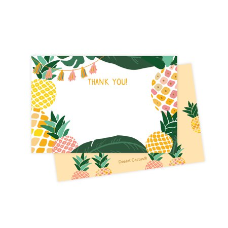 Pineapple Thank You Cards (25 Count) With Envelopes & Seal Stickers Bulk Birthday Party Bridal Blank Graduation Kids Children Boy Girl - Kids Graduation