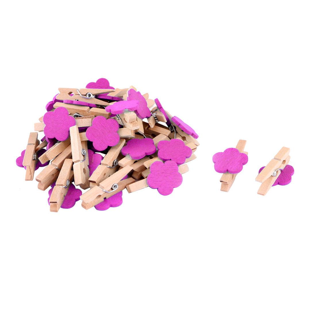 Household Wooden Flower Shape DIY Crafts Card Photo Decor Peg Clip Fuchsia 30pcs