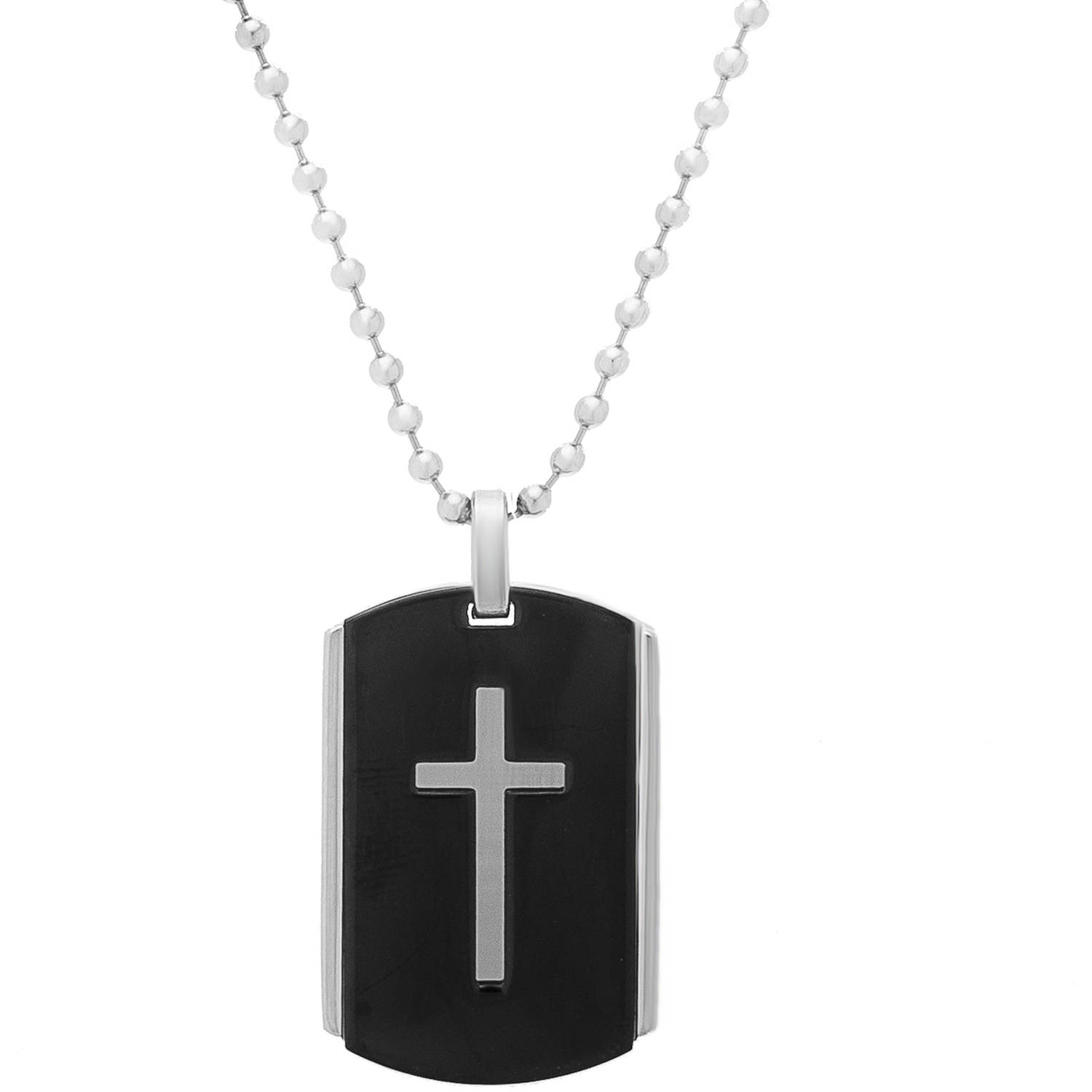 Fresh diamond dog tags mens necklace jewellrys website 1913 steel stainless steel two tone dog tag cross necklace audiocablefo