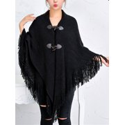 DODOING Oversized Horn Buttons Knit Poncho Cape Coat Cardigan Shawl Tassel Wrap Sweater for Women