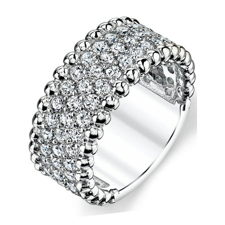 9 Mm Round Ring - Three Row Round Cut Cubic Zirconia Sterling Silver Wedding Band Ring 9mm