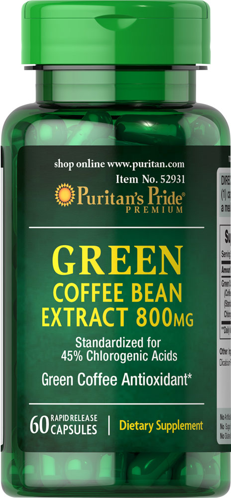 Puritan S Pride Green Coffee Bean Extract 800 Mg Walmart Com