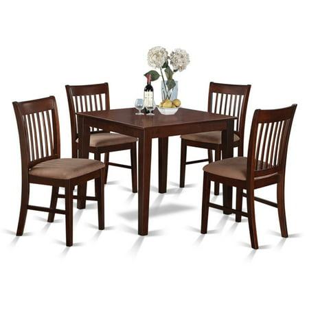 East West Furniture 5 Piece Slat Back Breakfast Nook Dining Table Set ()