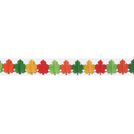 Beistle 1-Pack Decorative Fall Leaf Garland, 9-Inch by