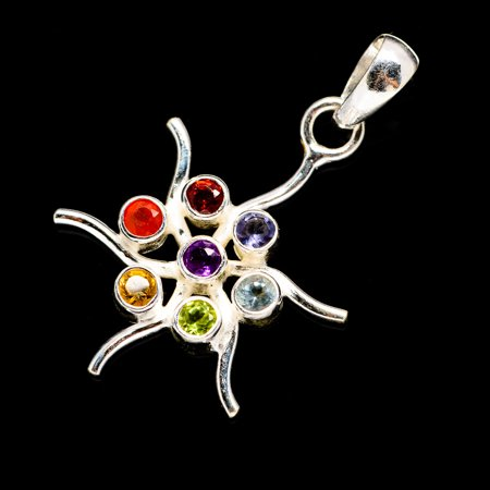 "Multi-Stone Chakra Flower Pendant 1 3/8"" (925 Sterling Silver)  - Handmade Boho Vintage Jewelry PD678707"