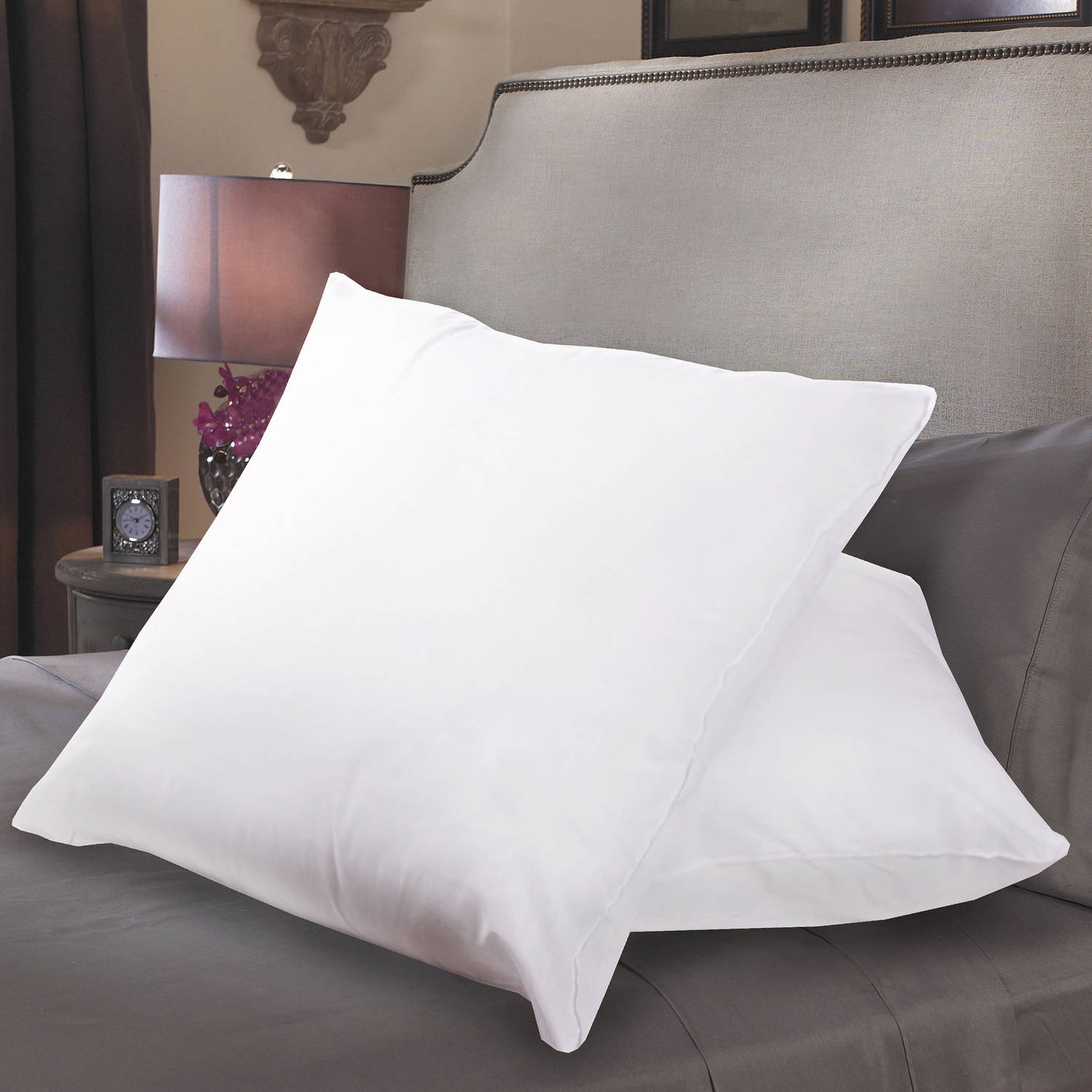 Down Alternative Polyester Square Euro Pillow Insert, 2-Pack
