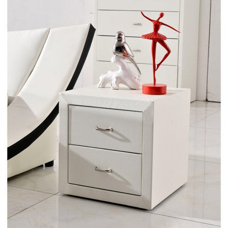 US Pride Furniture Riley White Faux Leather Modern Night Stand