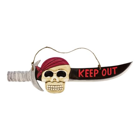 Carved Sword with Pirate Head Keep Out Wood 19 Inch Wall Sign Plaque, Measures 19 3/4 x 9 1/4 inches By Beachcombers ()