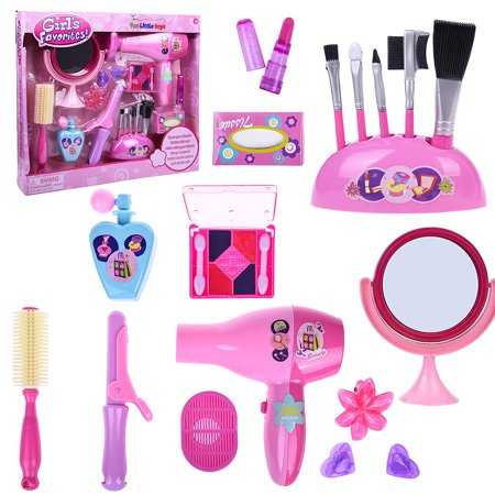 Pretend Play Makeup for Kid Girl's Pink Fashion Stylish Beauty Makeup Hair Salon Barber Toy Set 18 PCs F-40 - Chinese Girl Makeup For Halloween