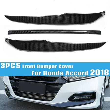 3Pcs Black Car Carbon Fiber Front Bumper Cover Lip Trim For Honda Accord 18-2019
