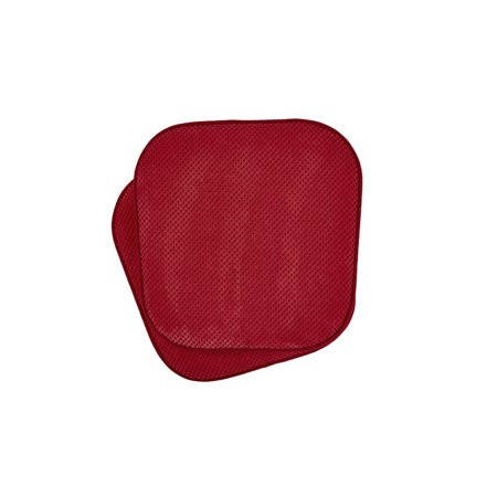 2 Pack: Premium Comfort Non Slip Memory Foam Kitchen & Dining Room  Seat/Chair Cushions - Red