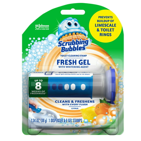 Toilet Cleaning Gel (Scrubbing Bubbles Fresh Gel Toilet Cleaning Stamp, Citrus, Dispenser with 6)