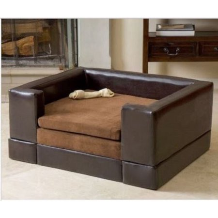 GHP Chocolate Brown Fabric Leather Wood Portable Raised Rectangular ...