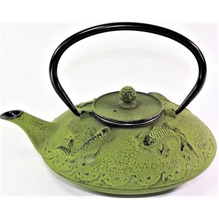 24 Oz Glass Teapot (Japanese Antique 24 Fl Oz Green Fancy Carp Koi Fish Cast Iron Teapot Tetsubin with Infuser -D )