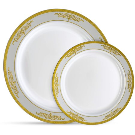 Laura Stein Designer Dinnerware Set | 32 Disposable Plastic Party Plates | White Plate with Gold Rim & Brushed Grey Accents | Includes 16 x 10.75