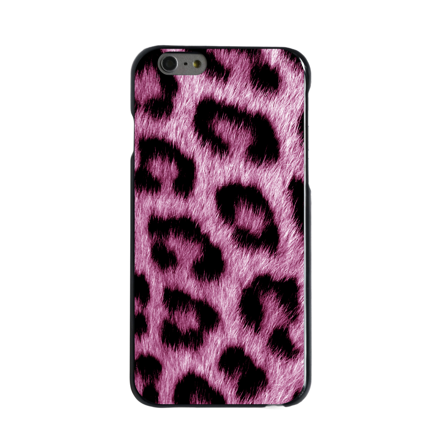 "CUSTOM Black Hard Plastic Snap-On Case for Apple iPhone 7 / iPhone 8 (4.7"" Screen) - Pink Black Leopard Fur Skin"