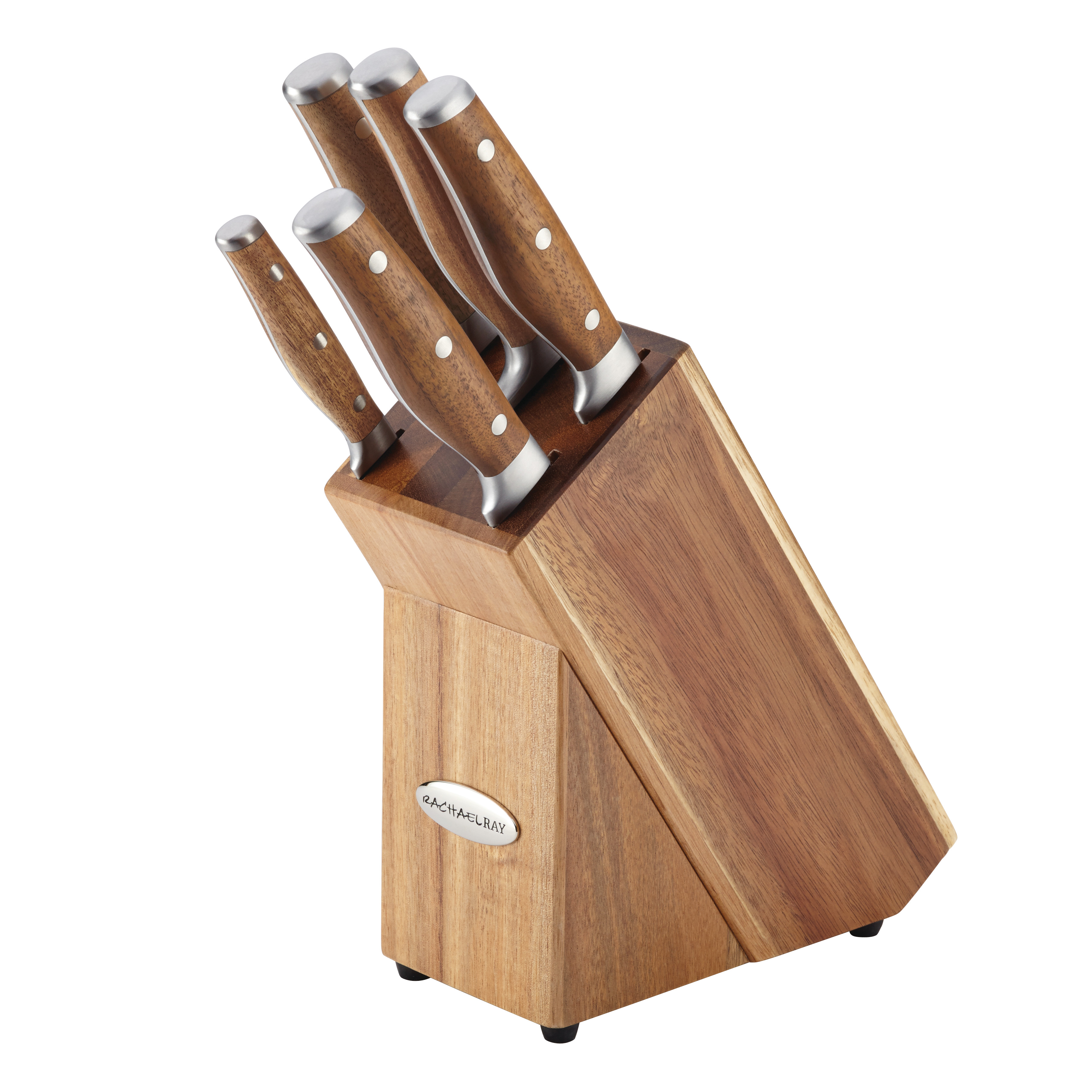 Rachael Ray Cucina Cutlery 6-Piece Japanese Stainless Steel Knife Block Set with Acacia Handles