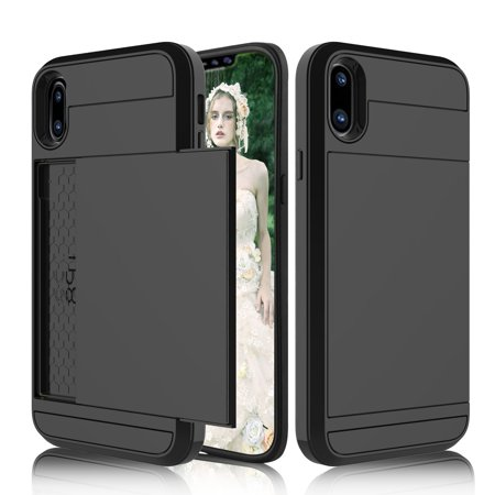 reputable site e528d 5d864 ELEGANT CHOISE Apple iPhone X Case, [Sliding Card Slot] Hybrid Bumper Armor  Shockproof Wallet Case Cover with Credit Card Slots Holder for iPhone ...