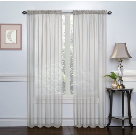 2 Pack  Ultra Luxurious High Thread Rod Pocket Sheer Voile Window Curtains By Goodgram    Grey
