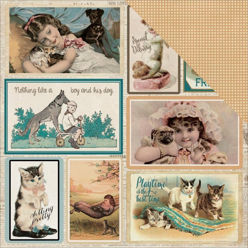 "Devoted Double-sided Cardstock 12""x12""-moments Vintage Postcards/mini Dots - Case Pack Of 18"