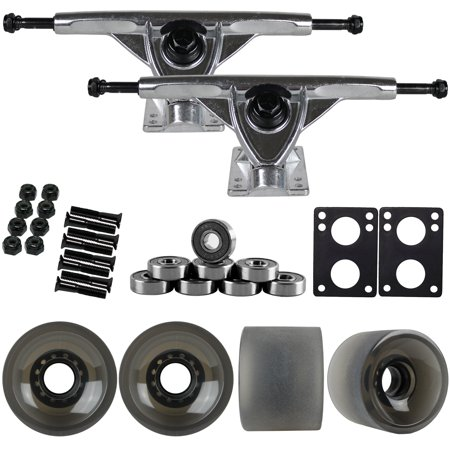 180mm RAW LONGBOARD TRUCKS + 70MM Black 82A WHEELS + BEARINGS PACKAGE