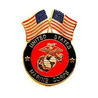 USMC Marines Corps Insignia 2 USA Flag Lapel Hat Pin Military PPM046