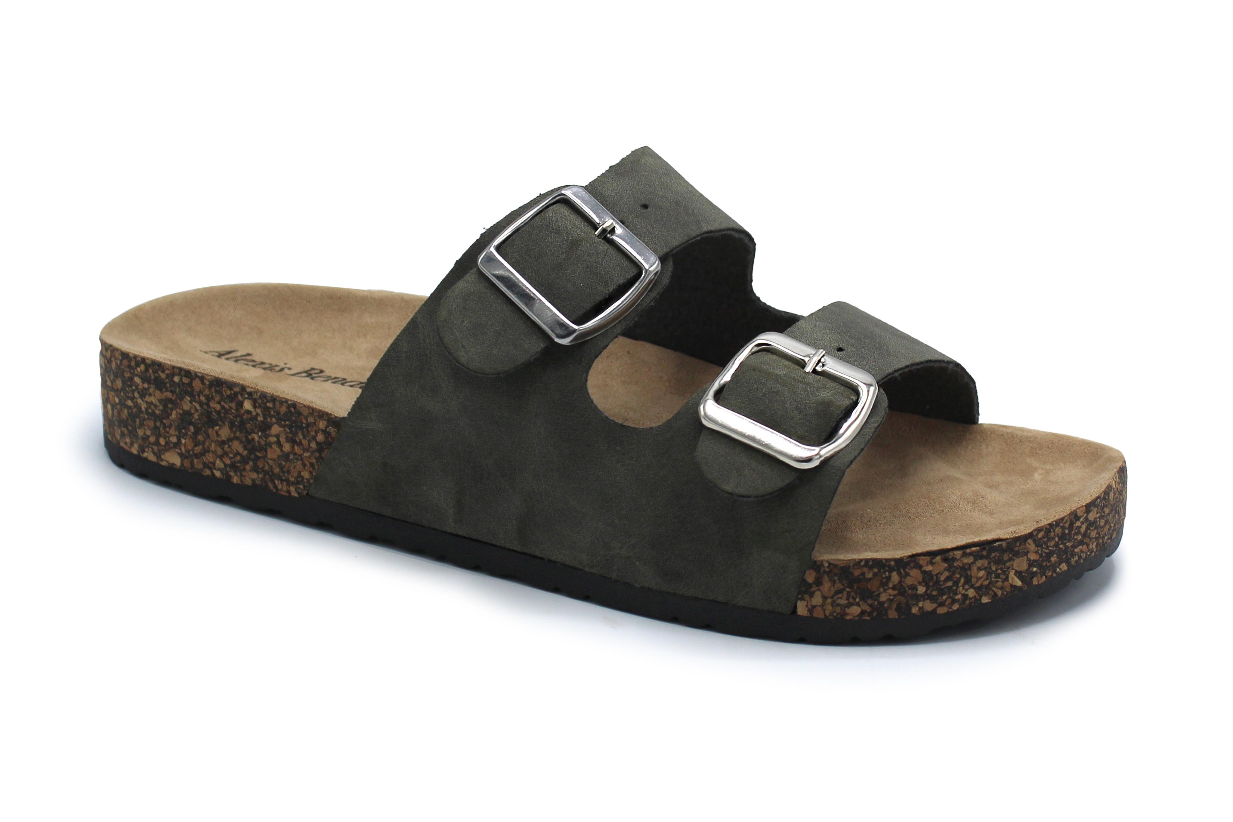f36374ea09c2 Fashion Brands Group - Kylie-01 Women Double Buckle Straps Sandals Flip  Flop Platform Footbed Sandals Olive 7 - Walmart.com