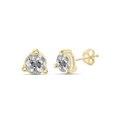 1 3/4 Carat T.G.W. White Topaz 14kt Gold Over Silver Stud Earrings