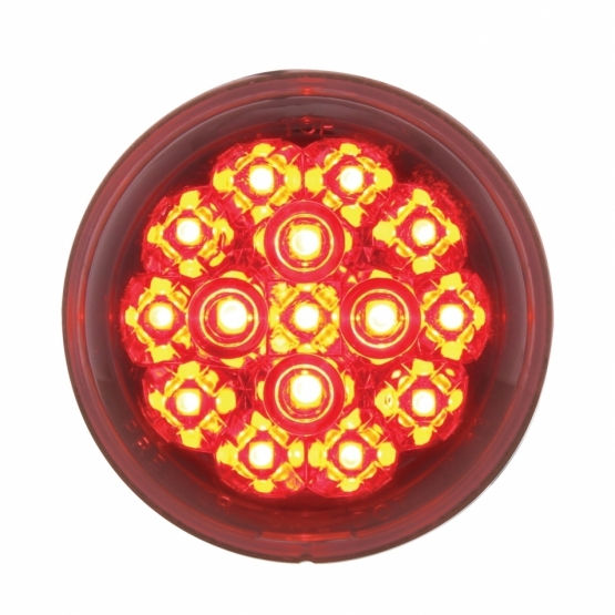 "15 LED 2 3/8"" Harley Turn Signal - Red LED/Clear Lens"
