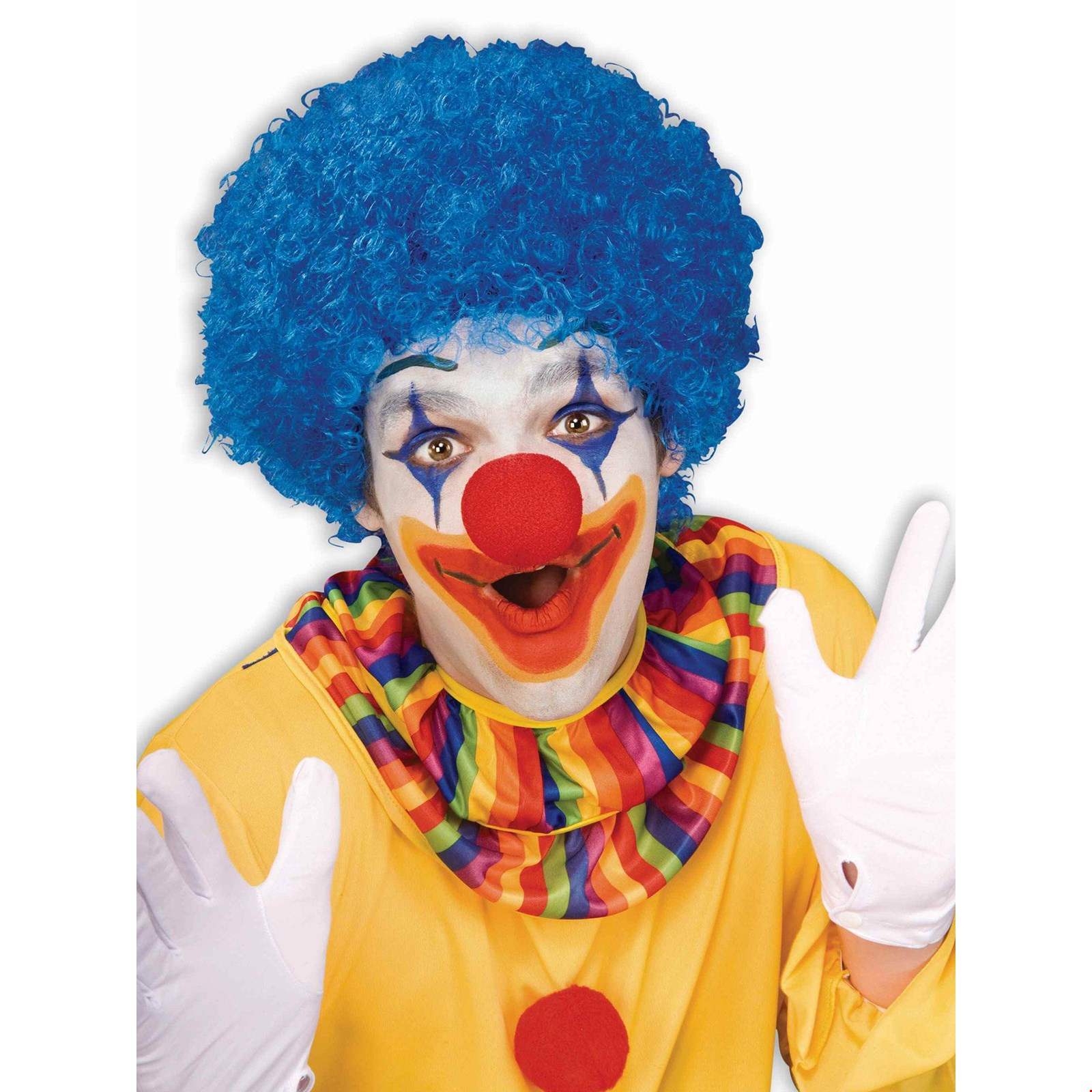 New Mens Womens Child Costume Red Blue Yellow Rainbow Afro Clown Wigs