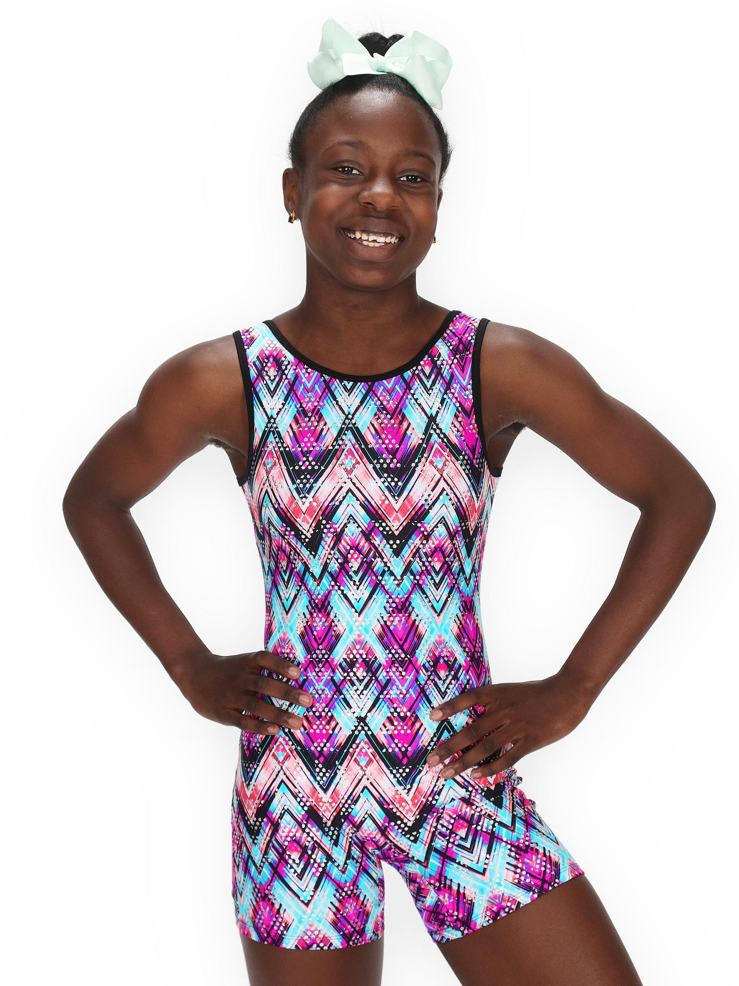 Gymnastics Biketard for Girls - Zig Zag Hologram - Leap Gear - 6   Child Medium