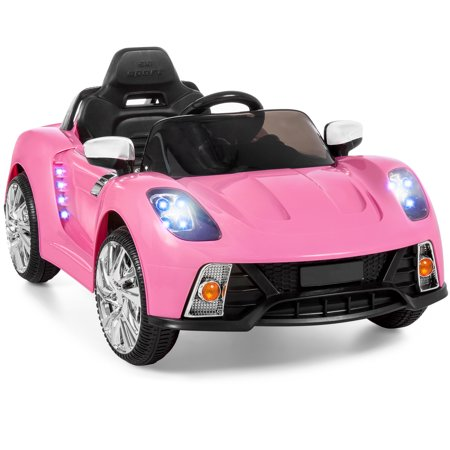 Best Choice Products 12V Kids Battery Powered Remote Control Electric RC Ride-On Car w/ 2 Speeds, LED Lights, MP3, AUX - Pink